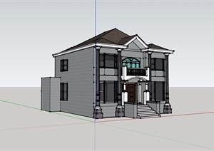 欧式风格两层住宅别墅建筑设计SU(草图大师)模型