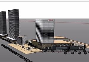 現代風格完整的商業辦公建筑設計SU(草圖大師)模型