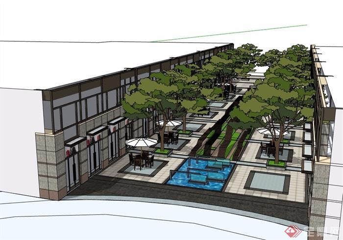 現代風格商業中心環境設計su模型