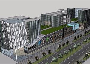 現代風格商業中心辦公建筑設計SU(草圖大師)模型