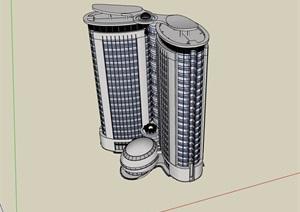 现代风格高层办公楼建筑设计SU(草图大师)模型