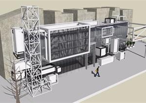 现代多层办公楼建筑设计SU(草图大师)模型
