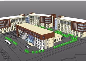 现代多层完整办公建筑设计SU(草图大师)模型