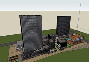 商業辦公樓建筑設計SU(草圖大師)模型