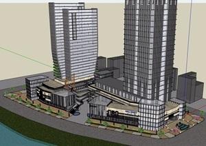 現代風格商業辦公大廈建筑設計SU(草圖大師)模型