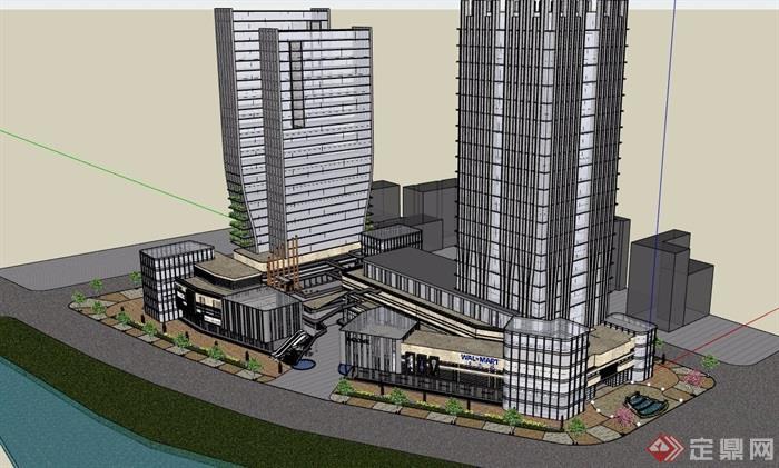 現代風格商業辦公大廈建筑設計su模型