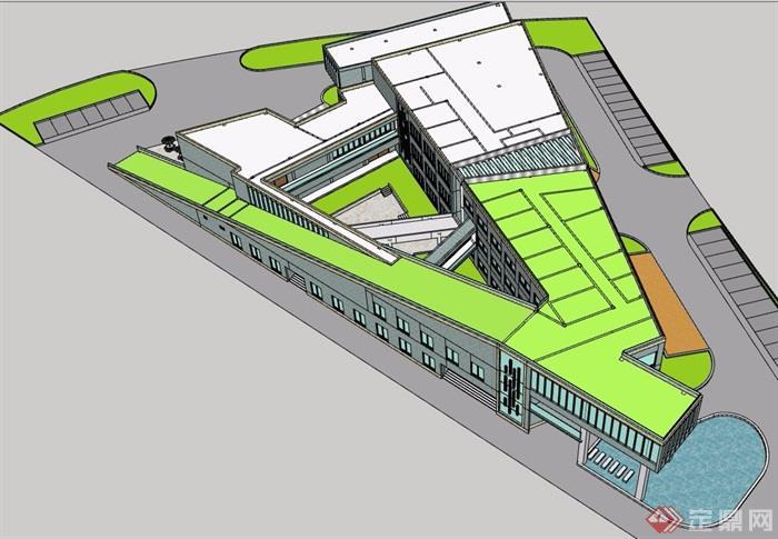 现代风格商场完整建筑设计su模型