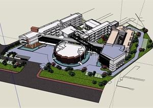 现代风格多层教学楼建筑设计SU(草图大师)模型