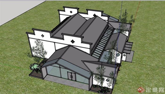徽派中式风格私人住宅别墅建筑设计su模型
