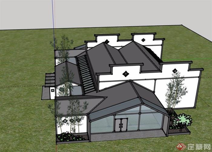 徽派中式風格私人住宅別墅建筑設計su模型