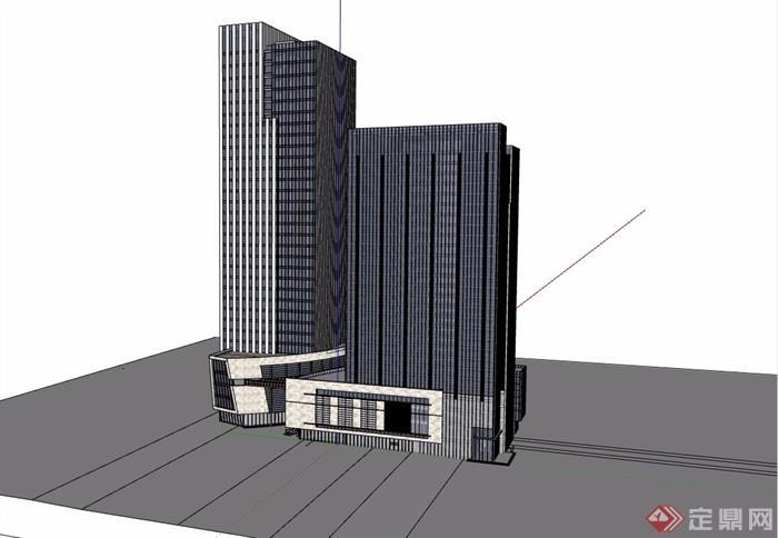 現代風格高層經典辦公大廈建筑設計su模型
