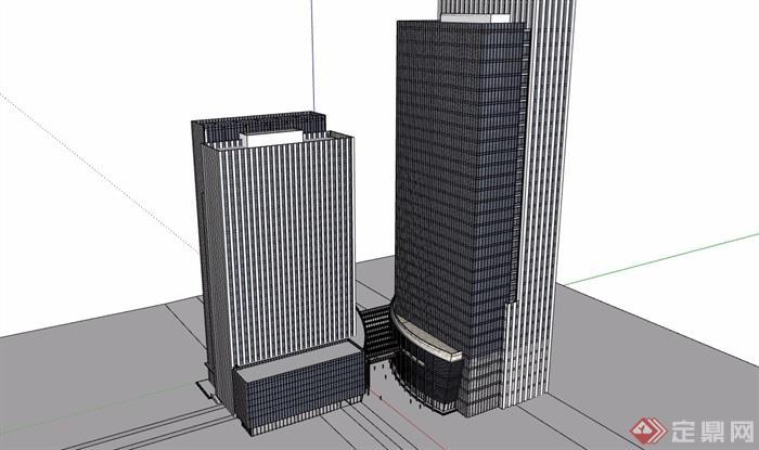 现代风格高层经典办公大厦建筑设计su模型