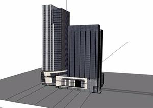 现代风格高层经典办公大厦建筑设计SU(草图大师)模型