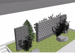 现代风格景墙素材详细设计SU(草图大师)模型