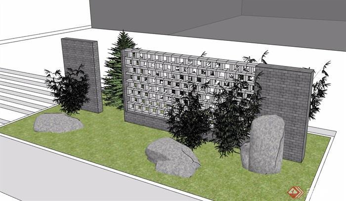 现代风格景墙素材详细设计su模型