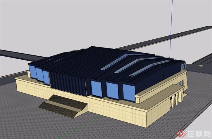 現代風格文化中心詳細建筑設計su模型