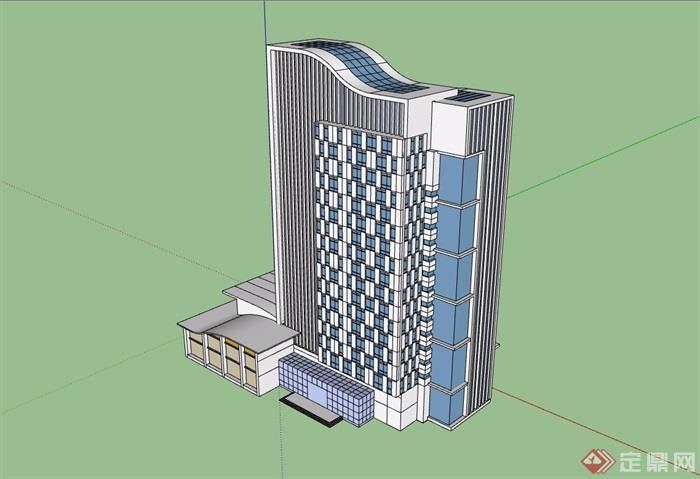 現代風格辦公高層建筑設計su模型