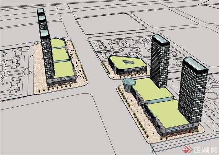现代高层详细的商业办公建筑设计su模型
