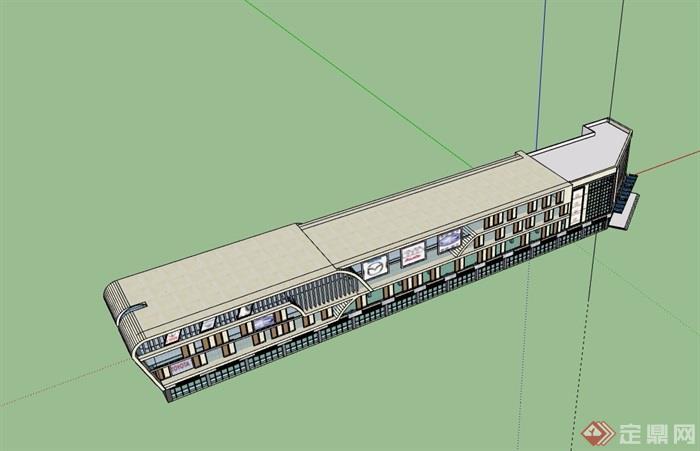 現代風格完整的商場建筑設計su模型