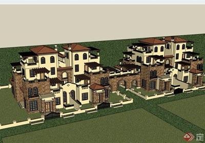 西班牙風格住宅雙拼別墅詳細設計su模型