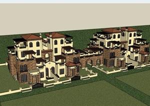西班牙风格住宅双拼别墅详细设计SU(草图大师)模型