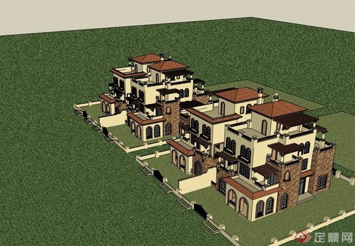 西班牙风格住宅双拼别墅详细设计su模型
