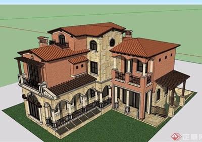 歐式風格住宅兩層別墅詳細設計su模型