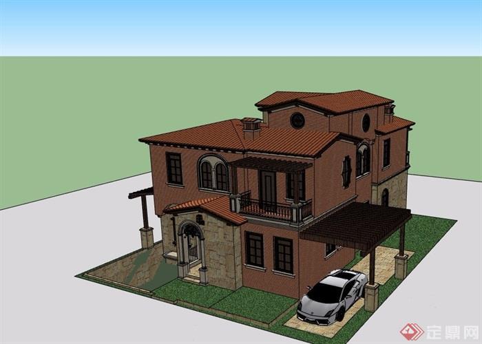 欧式风格住宅两层别墅详细设计su模型