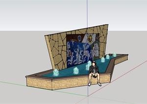 园林景观水池景墙素材详细设计SU(草图大师)模型