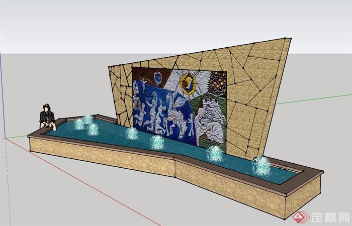 園林景觀水池景墻素材詳細設計su模型