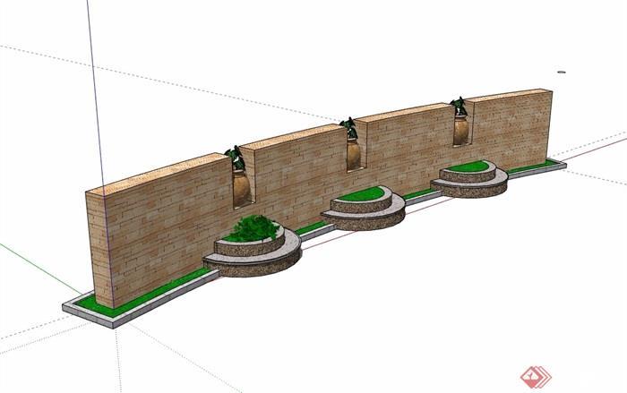现代风格为完整的景墙详细设计su模型
