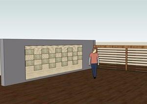 现代园林景观节点景墙详细设计SU(草图大师)模型