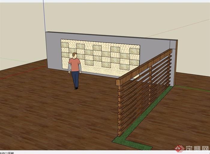 现代园林景观节点景墙详细设计su模型
