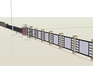 现代风格玻璃围墙详细设计SU(草图大师)模型