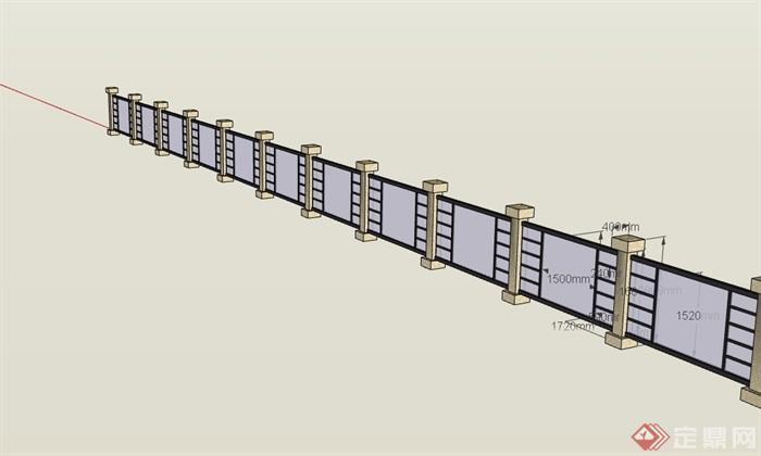 現代風格玻璃圍墻詳細設計su模型