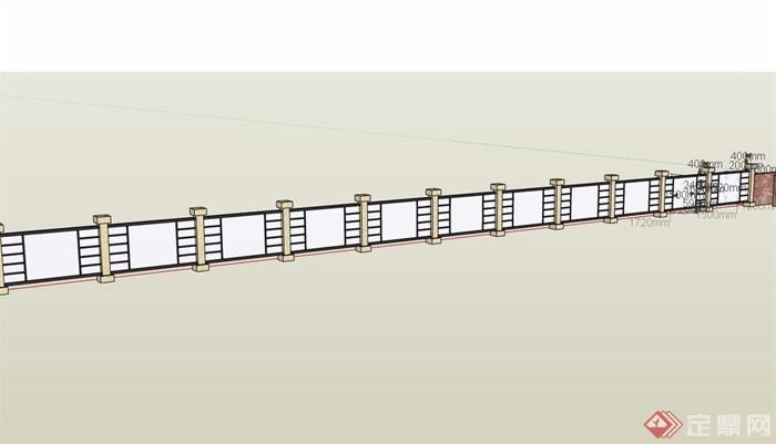 现代风格玻璃围墙详细设计su模型