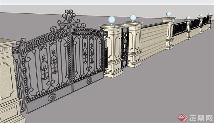 歐式風格圍墻素材詳細設計su模型