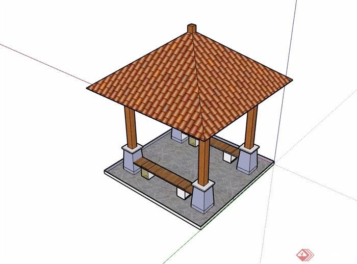 欧式亭子素材详细设计su模型