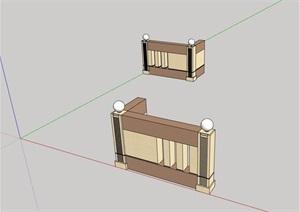 园林景观详细的完整围墙设计SU(草图大师)模型