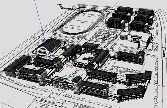 古建博物館和行政樓規劃SketchUp模型(3)