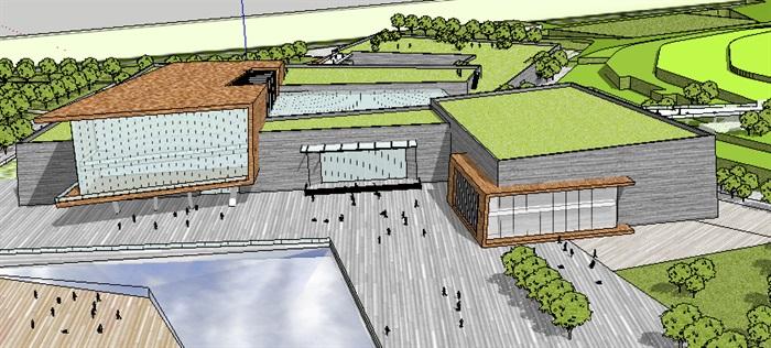 現代風格博物館含基地精細建模-36M(2)