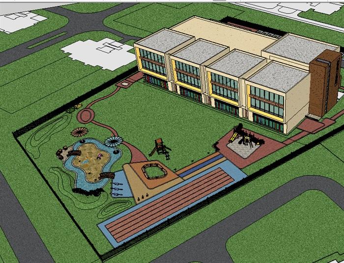 小橋流水-兒童沙坑-創意樂園-某市幼兒園景觀設計方案+SU模型+施工圖(4)