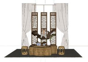 某新中式茶室裝飾,含茶桌等