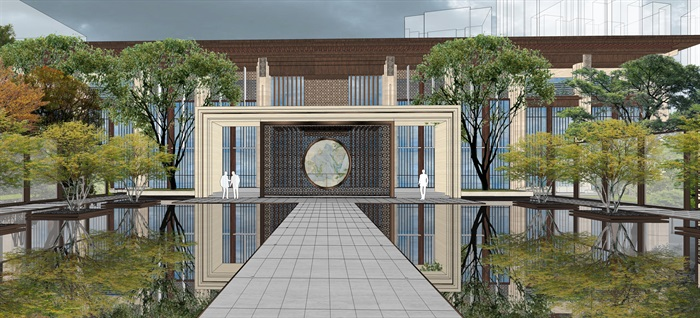 中骏 · 西山天璟 中式示范区 气派大门 景墙 水景 廊架 休息空间 大型水景(1)