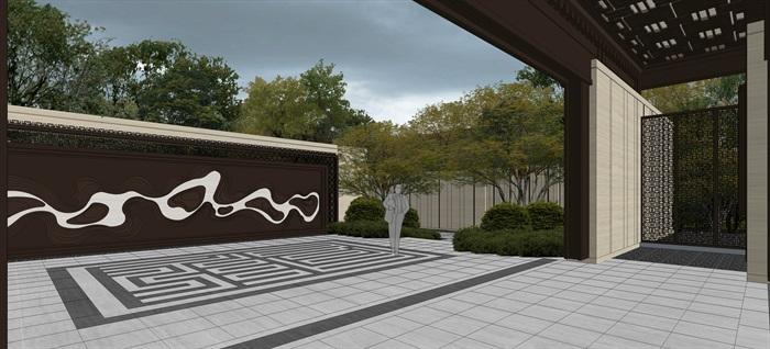 中骏 · 西山天璟 中式示范区 气派大门 景墙 水景 廊架 休息空间 大型水景(2)