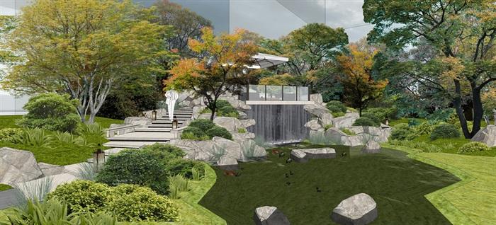 中骏 · 西山天璟 中式示范区 气派大门 景墙 水景 廊架 休息空间 大型水景(6)