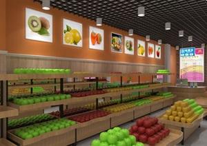 一个水果店店面硬装装修效果图+3D模型(硬装3万)