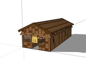中式單層餐廳建筑設計SU(草圖大師)模型