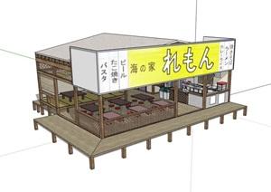 詳細的單層餐廳建筑設計SU(草圖大師)模型