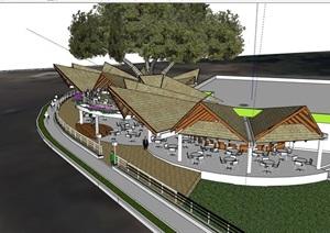 大型的餐厅建筑设计SU(草图大师)模型